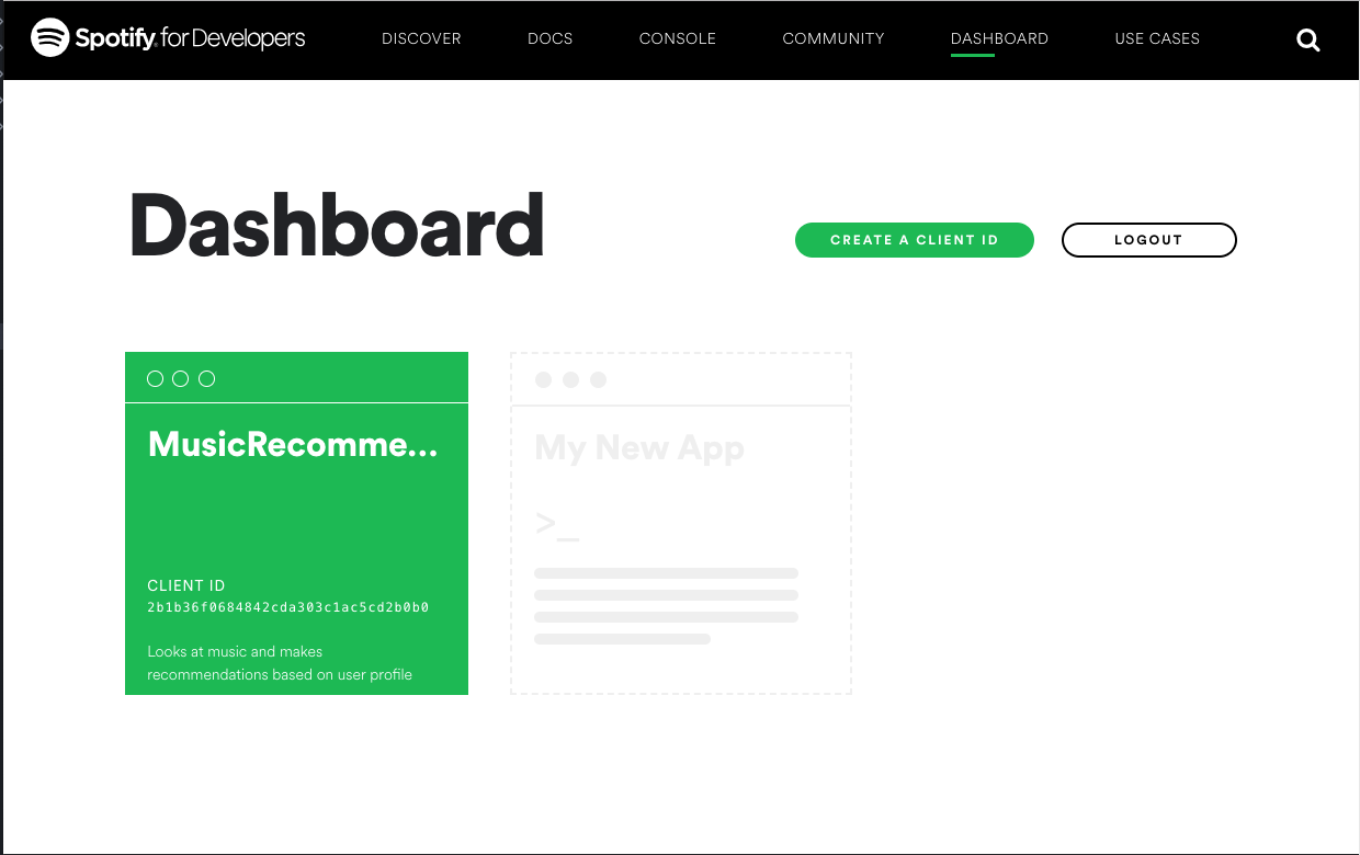 The client dashboard
